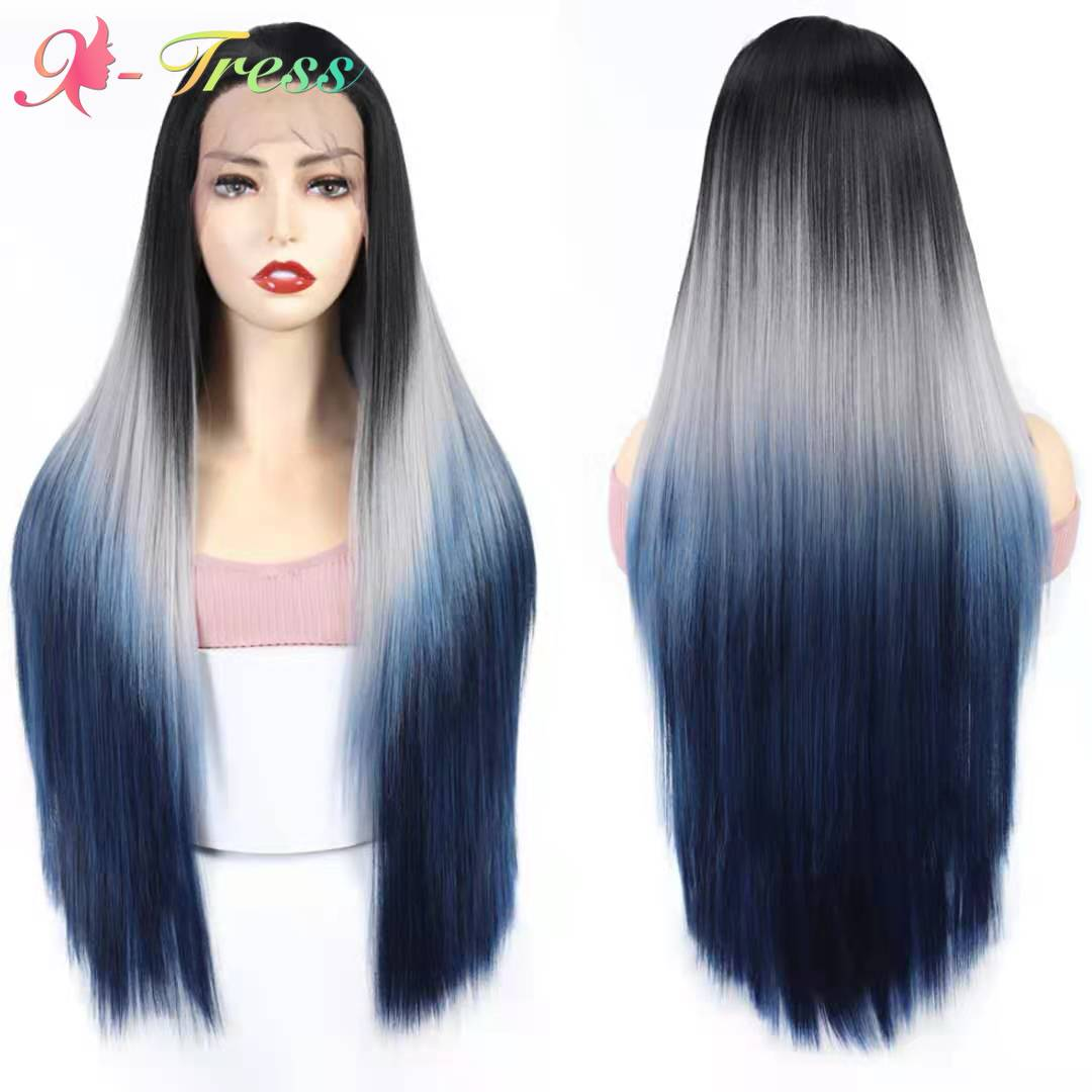 Ombre Color Synthetic Lace Front Wigs For Women X-TRESS Dark Roots Gray Blue Long Straight 13x4 Lace Frontal Wig Cosplay Wig