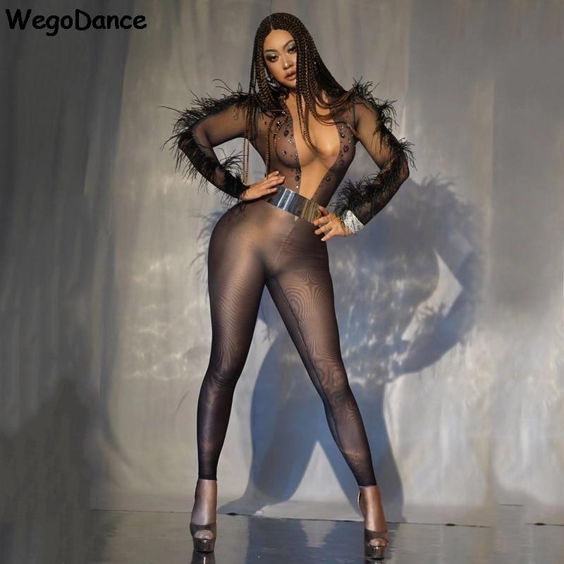 New Women Singer Bar Dancer Jumpsuit Black Rhinestones Feather Long Sleeve Leotard Birthday Prom Nightclub Clothes