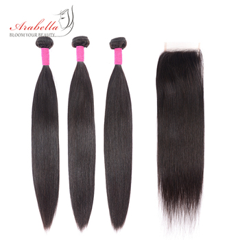 Brazilian Straight Hair Bundles With Lace Closure Arabella Human Hair Bundles With Closure Remy Hair Bundles With Closure