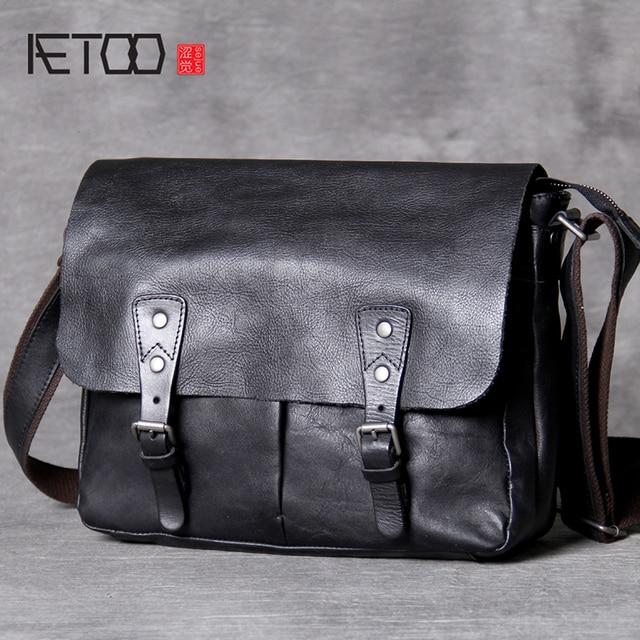 AETOO คลาสสิกหัว cowhide ชาย Postman Bag กระเป๋าหนังไหล่ Crossbody กระเป๋า
