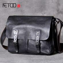 حقيبة ساعي البريد من جلد البقر الكلاسيكي من AETOO حقيبة كتف جلدية غير رسمية