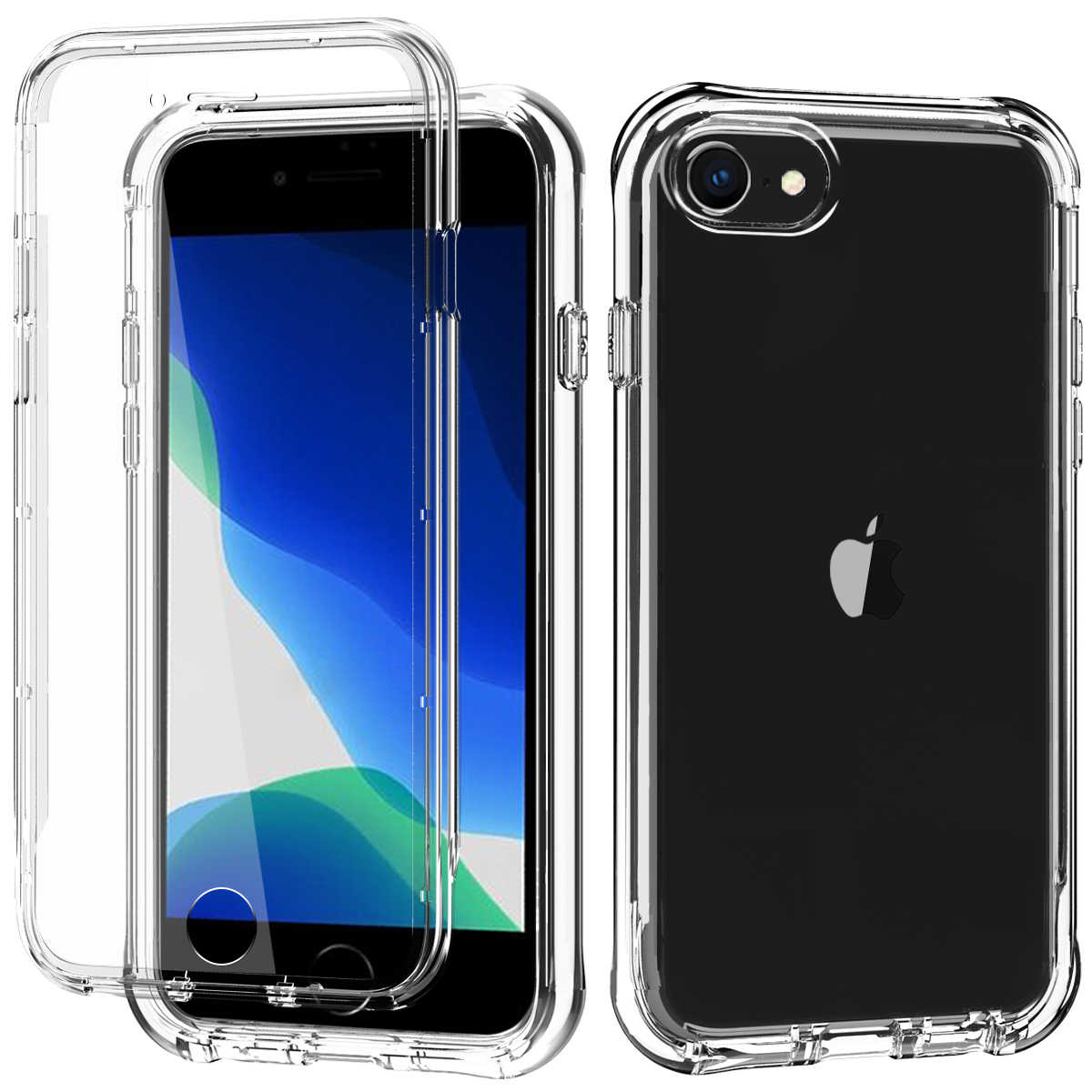 Untuk iPhone SE 2020 Case, Iphone 7 8, built-In Screen Protector Shockproof Dual Lapisan Pelindung Plastik Keras & Lembut TPU