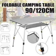 Mesa plegable portátil para acampar, muebles de exterior, mesas de ordenador ajustables, Picnic, escritorio plegable ultraligero de aleación de aluminio