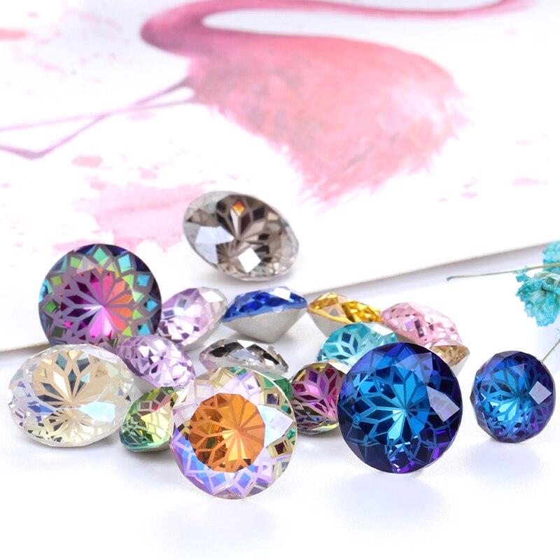 Round Rivoli Glue On Rhinestones 10mm Pointback Stones DIY Crafts Shiny Glass Strass High Quality K9 Crystals