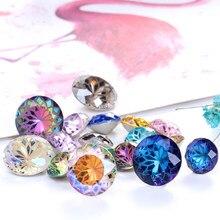 Cola rivoli redonda em strass 10mm pointback pedras diy artesanato vidro brilhante strass alta qualidade k9 cristais