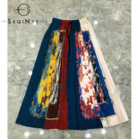 SEQINYY Pleat Skirt 2020 Summer Spring New Fashion Design Women Elastic Waist Colorful Flowers Vintage Print Long Skirt