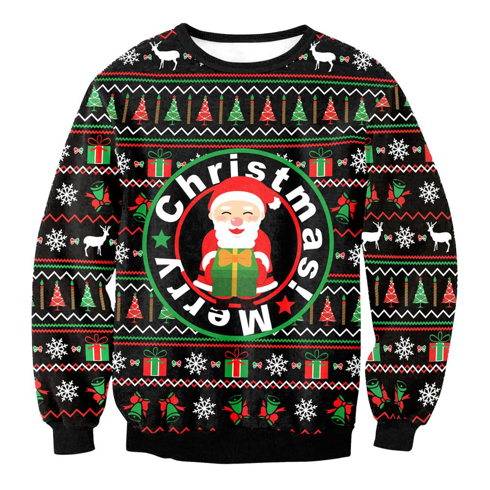 2020 NEW Funny Santa Elk Men Women 3D Print Christmas Sweater Tops Jumper Father Xmas Ugly Xmas Sweaters Autumn Winter Pullovers