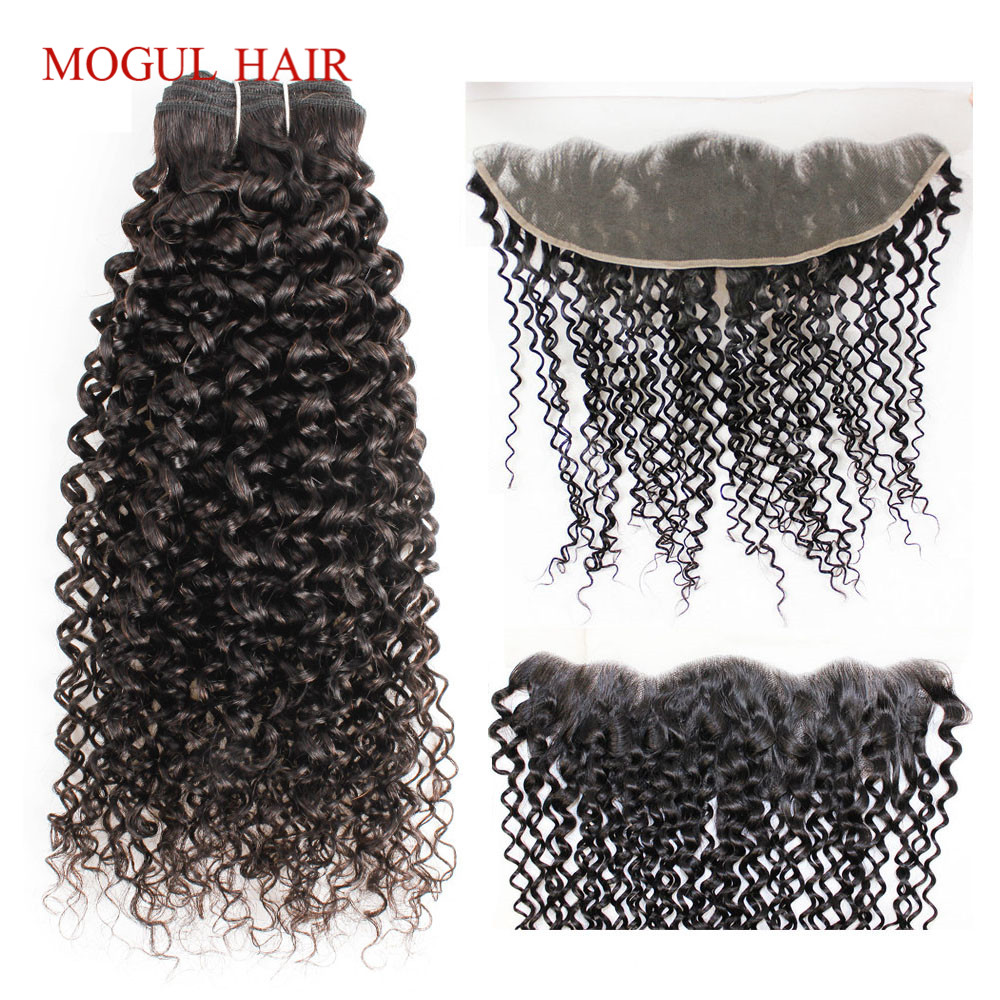 MOGUL HAIR Jerry Curly Hair Bundles With Frontal Bundles With 4x13 Lace Frontal Brazilian Non Remy Human Hair Weave Extension