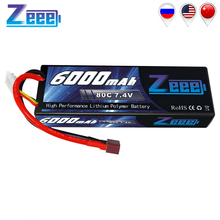 цена на Zeee 6000mAh RC LiPo Battery for RC 2S 80C LiPo 7.4V with Deans T Plug for RC Car Vehicle Truck Tank Losi Traxxas Slash Truggy