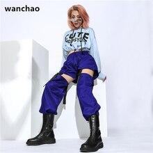 WANCHAO плюс размер готические брюки-карго женщины черный случайные свободные высокой талией Брюки съемный с пластмассовой пряжкой хип-хоп брюки