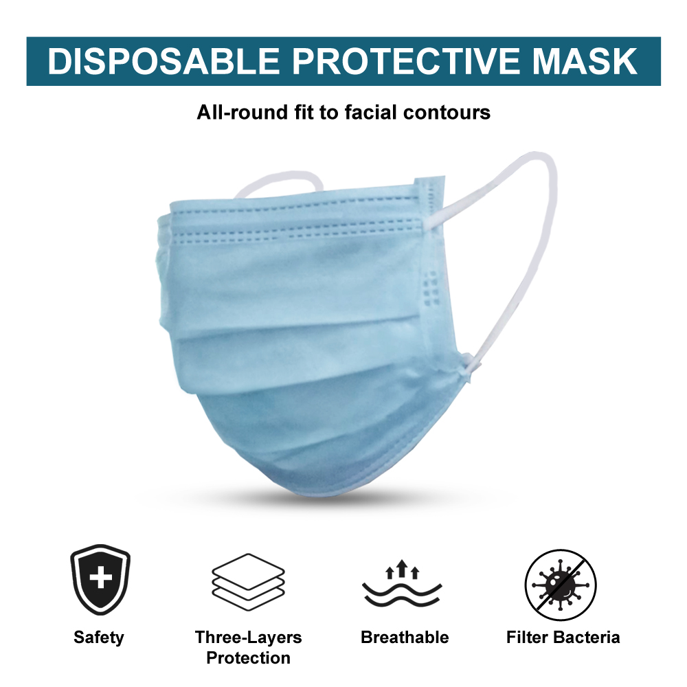 Blue Disposable Masks Health Care Protective Mouth Face Mask 3 Layers Disposable Blue Facial Masks