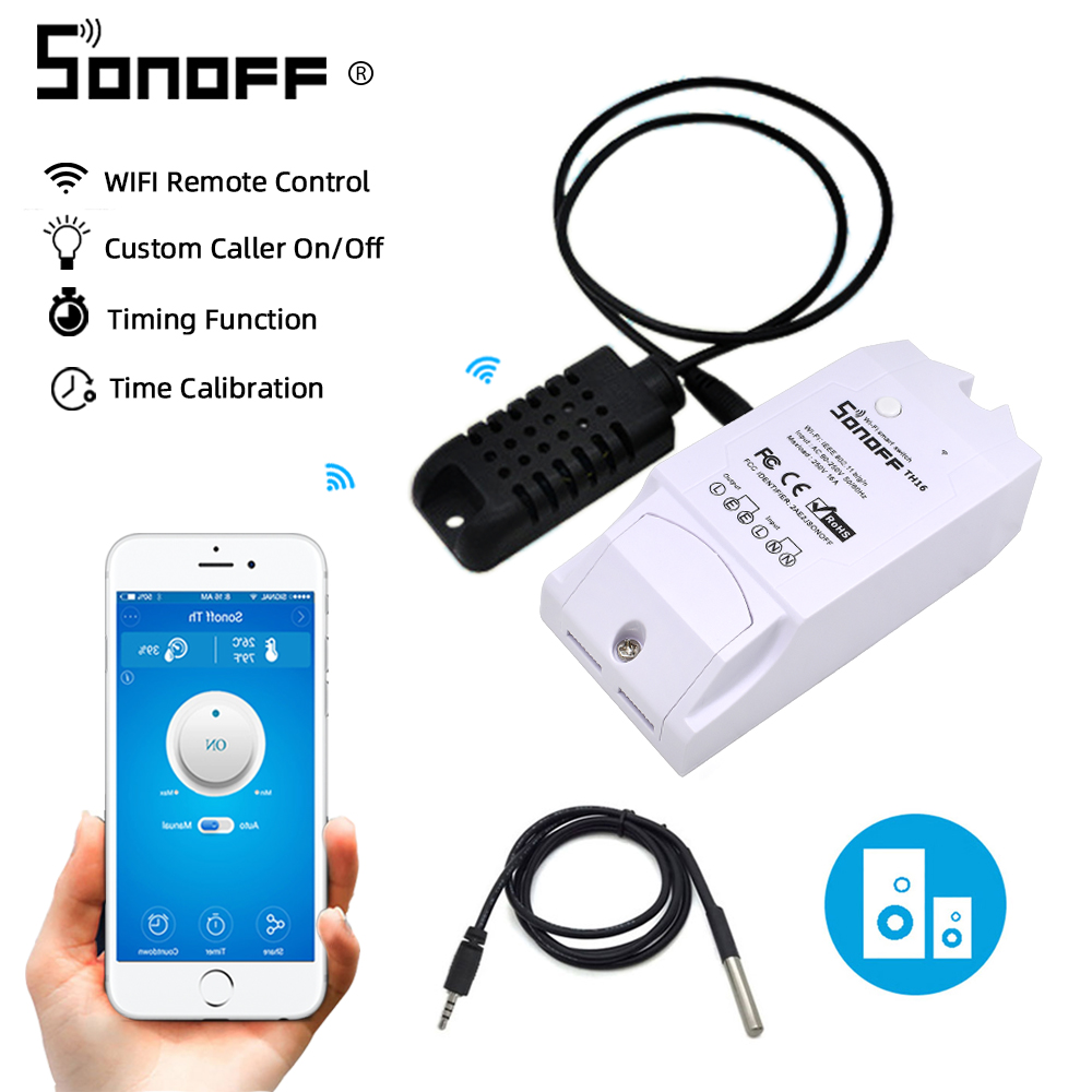 Sonoff TH16 Relay Module Smart Home Wifi Switch Humidity Sensor Temperature Monitor Works With Alexa Google Home