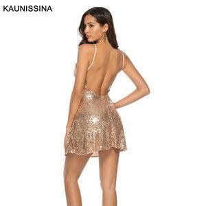 Image 3 - Kaunestina robe de Cocktail, Sexy, courte, pailletée, à bretelles Spaghetti, col en V, dos nu, tenue dorée