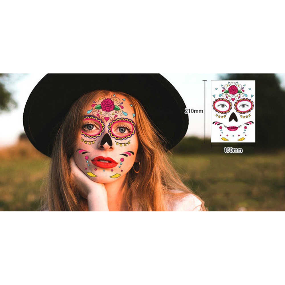 1 Pcs Festival Wajah Dekorasi Tahan Air Masker Halloween Sementara Wajah Seni Gula Tengkorak Tato Kecantikan Stiker Masquerade