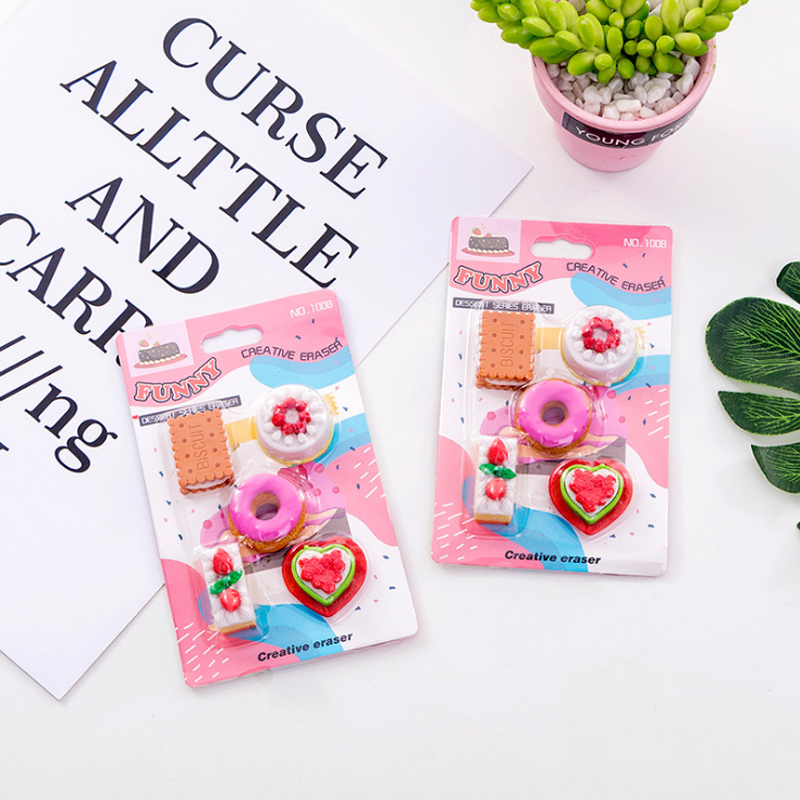 5 Pcs Cookie Donuts Erasers Kindergarten Toy Eraser Creative Pencil Erasers Promotional Student Stationery School Supplies