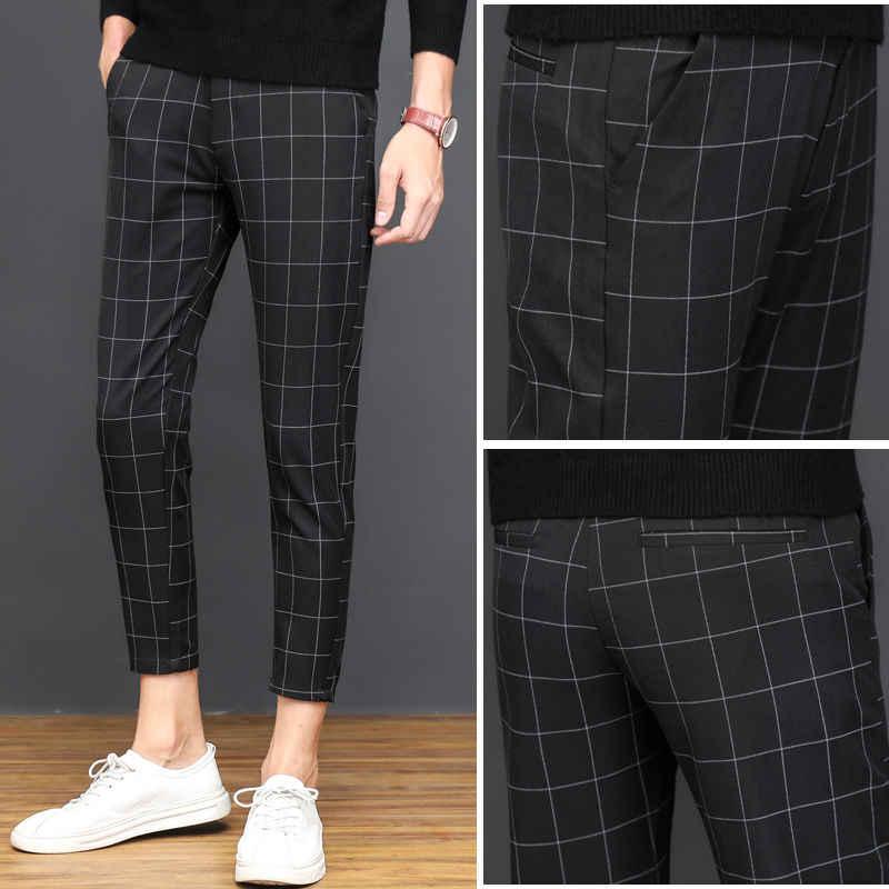 Pantalones De Pitillo A Rayas Para Hombre Capri De Moda Coreana Pantalones Cenidos Ajustados A Cuadros Esteticos De Verano 2020 Pantalones Informales Aliexpress