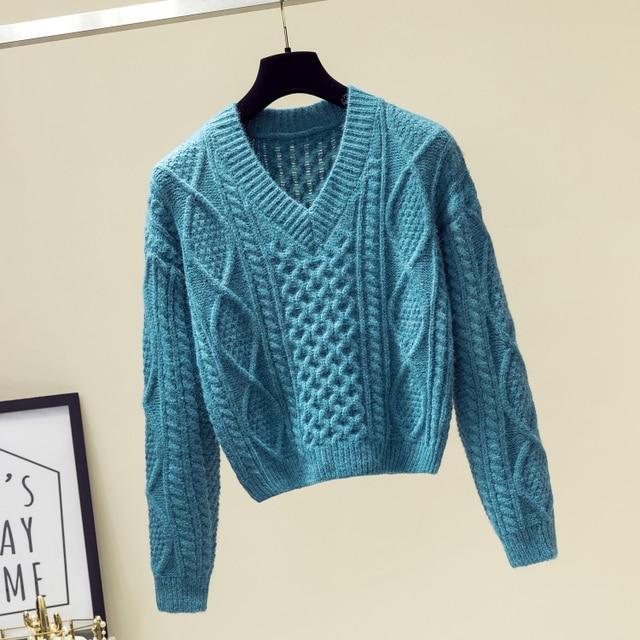 Ailegogo New 2019 Autumn Winter Women Sweaters V-Neck Knitting Fashion Korean Style Solid Minimalist Ladies Female Tops SW716 3