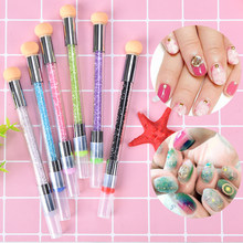 AACAR 1PC Dual-ended Gradient Stamper Sponge Head 2 Way Blooming UV Gel Pen Tool Nail Art Rhinestone Handle Brush(China)