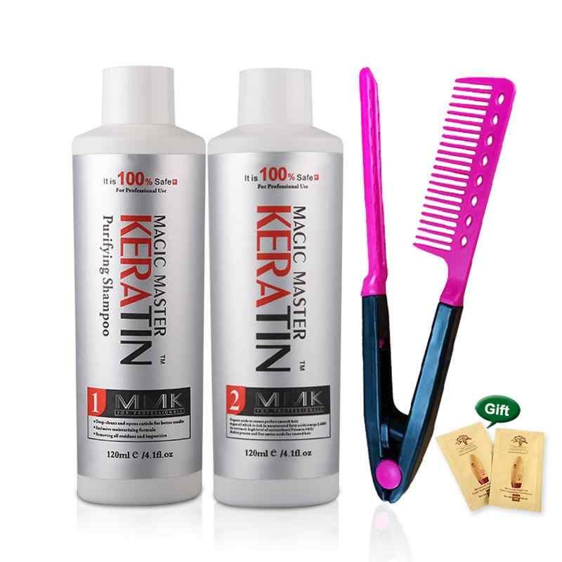 Tratamiento para el cabello sin queratina formalina 120ml, queratina brasileña Mágina mágica + champú purificador 120ml, conjunto con peine de regalo gratuito