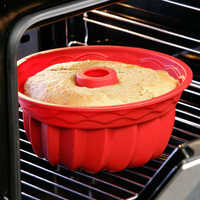 Grand creux rond 9 pouces en mousseline de soie gâteau moule plaque d'engrenage, moule à gâteau en silicone, outil de cuisson facile à libérer.