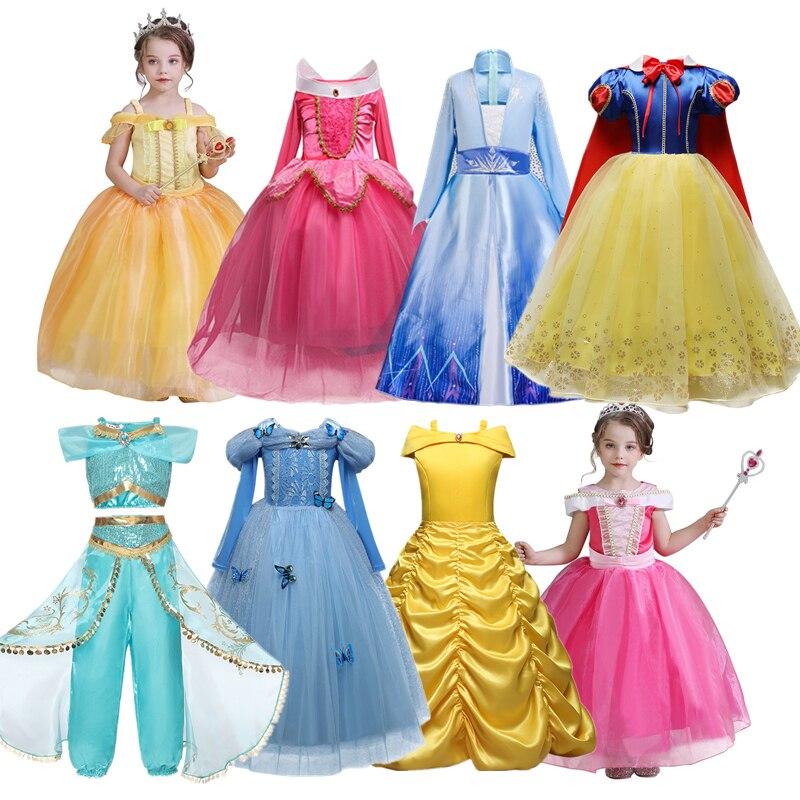New Princess Dress Up Girls Cosplay Costume Kids Dresses for Girls Halloween Christmas Dress for Girls Snow 2 Dress Belle Beauty 1