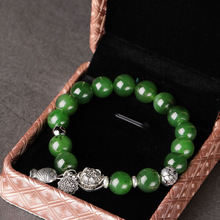 string with certificate of manufacturers selling national wind jade bead bracelet 10 mm transshipment jade bracelet green goods stone bracelet too send the certificate