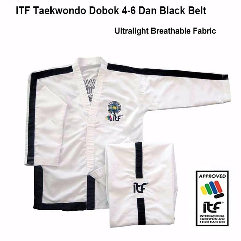 ITF Approve 1-6 Dan Ultralight Breathable White Uniform Taekwondo Kimono Assistant Taekwondo Master Doboks With Embroidery Suit
