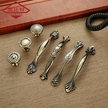 AOBITE European Zinc Aolly Antique Luxuriou Cabinet Handles 128mm Kitchen Cupboard Pulls Drawer Singe Hole Knob Furniture Handle 860 128mm hole to hole length zinc alloy golden flower pull handle marble furniture knob