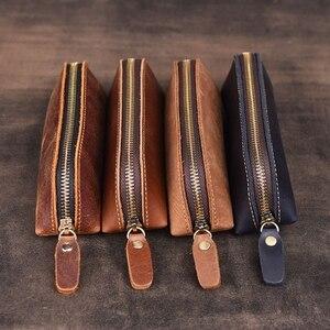 Image 5 - Bolsa de lápices de cuero genuino hecha a mano, estilo Retro Vintage, de piel de vaca, con cremallera, estuche de bolígrafo, bolso escolar, papelería de oficina, 1 unidad