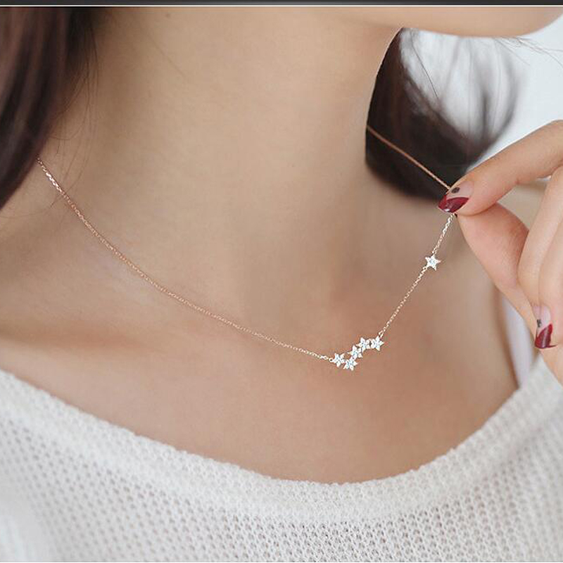 Personalized Multi Korean Trendy Star Necklace Dainty 925 Sterling Silver Short Chain Necklace For Women Gift Collares NK006