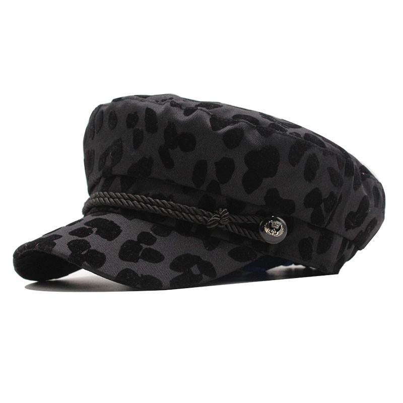 New Autumn Winter Cotton Beret Hats For Women French Berets Female Leopard Print Berets Black Berets With Adjustable Rope