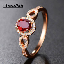 Ataullah Natural Red Ruby Rings 925 Silver 18k Rose Gold Plated Inlaid with 3A Zircon Gemstone Ring Fine Jewelry for Woman RW085 yoursfs® 18k white gold plated simulated ruby promise heart rings используйте австрийские ювелирные украшения из кристалла