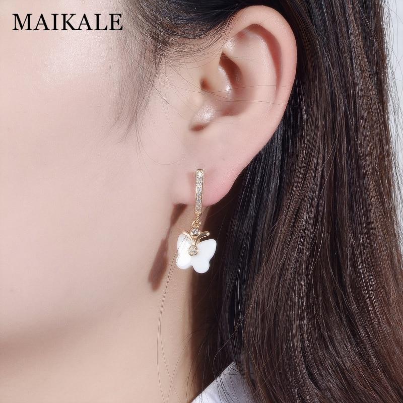 MAIKALE Cute Butterfly Shape Ceramic Earrings Cubic Zirconia Golden/Silver Dangle Drop Earrings for Women Fashion Jewelry Gifts 4
