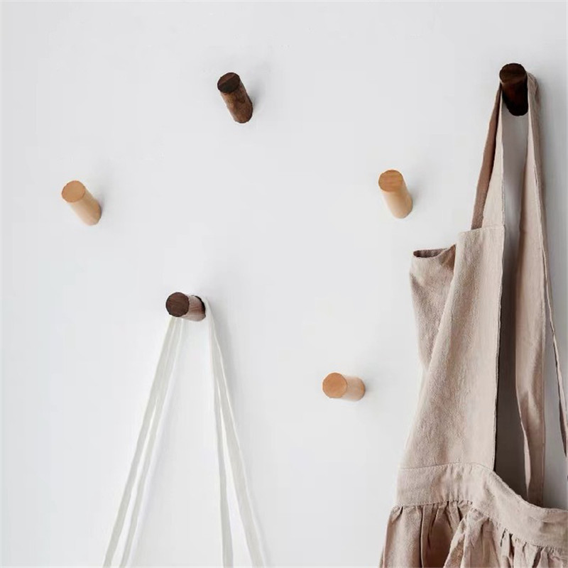 Nordic Natural Wood Clothes Hanger Wall Mounted Coat Hook Decorative Key Holder Hat Scarf Handbag Storage Hanger Bathroom Rack