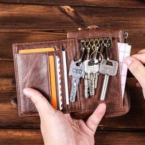 Image 3 - CONTACTS portafogli chiave da uomo in vera pelle portachiavi per auto da uomo custodia governante piccola portamonete cerniera Hasp Design portachiavi
