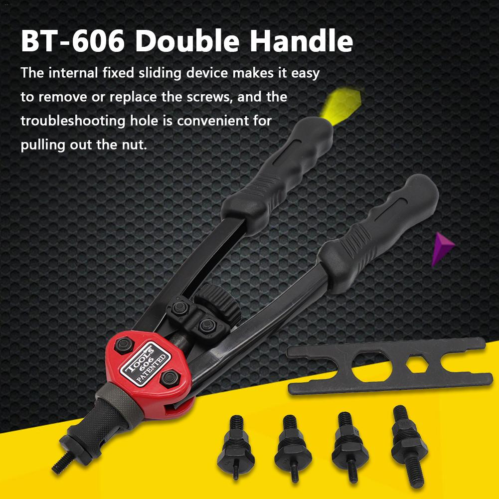 BT-606 Auto Rivet Tool Kit Blind Rivet Nut Gun Heavy Double Handle Inser Nut Tool Manual Mandrels M3 - M8 Household Repair Tools