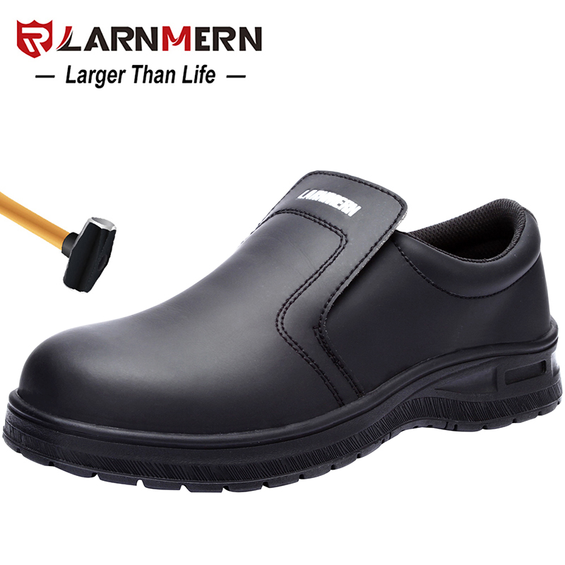 LARNMERN Men's Work Safety Shoes For Chef Steel Toe Anti-smahsing Waterproof Non-slip Resistance Chef Protective Footwear