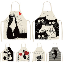 Apron Cute Baking-Accessories Linen Cat-Printed Kitchen Cooking Women Cotton Sleeveless