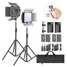 Neewer 2.4g bi-color 600 smd led painel/barndoor/display lcd kit de iluminação de vídeo com suporte de luz para fotografia de estúdio de fotos