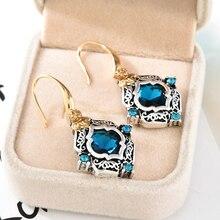Vintage Women Blue Crystal Drop Dangle Earrings Wedding Engagement Rhinestone Rhombus Earrings Statement Girls Party Jewelry