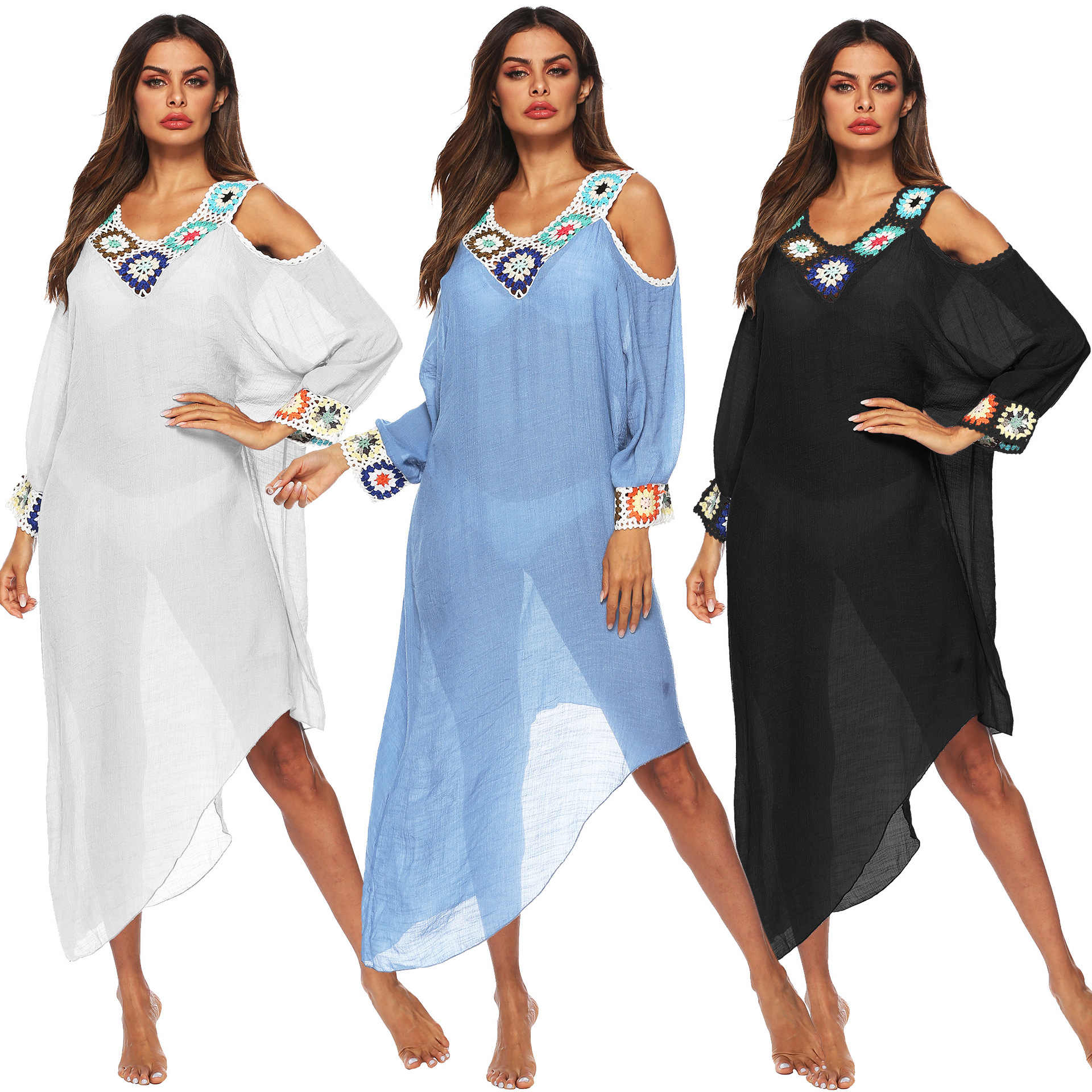 Swim Suit Cover Up 2019 Women Bathing Suit Beach Dress Hot Sale Sexy Splicing V-neck Long-sleeved Dress See-through Beach Blouse