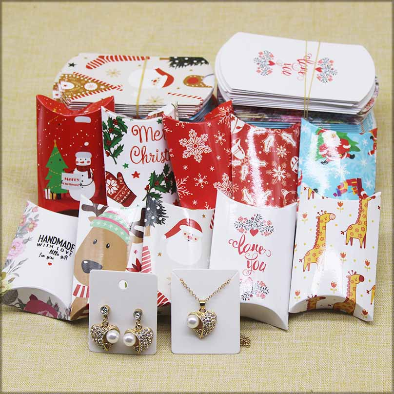 DIY Handmade Pillow shape Jewelry&necklace&Earring DIsplay Box paper christmas Gifts package box Cute animlas baby show package