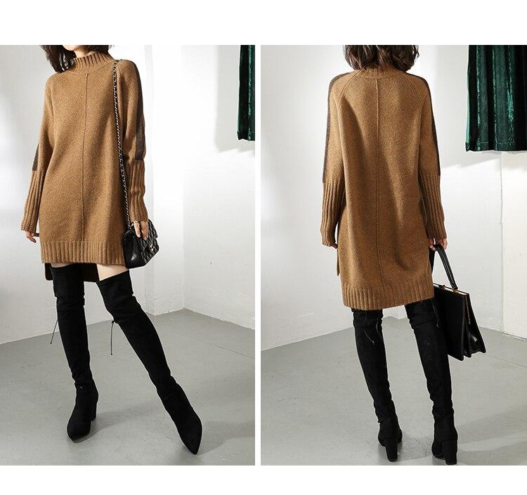 Women Autumn Winter Sweater Knitted Dresses Women Fashion Turtleneck Long Sweater Dress Ladies Warm Split Sweater Dress