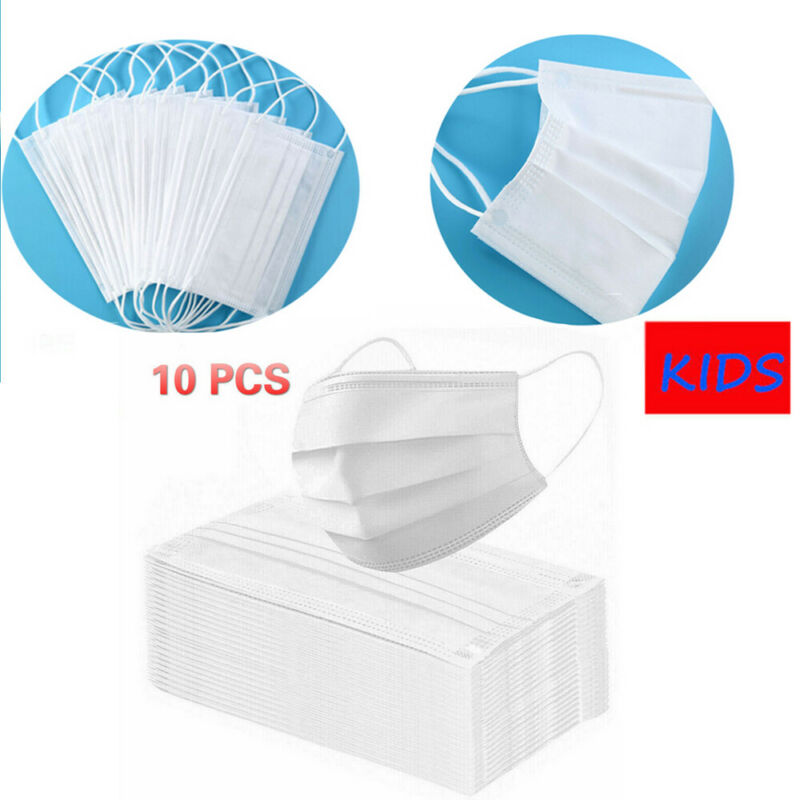 10PCS Children Disposable Mask White Non-Woven 3 Ply Filter Outdoor Anti Dust Protective Mouth Loop Face Mask Face Cover