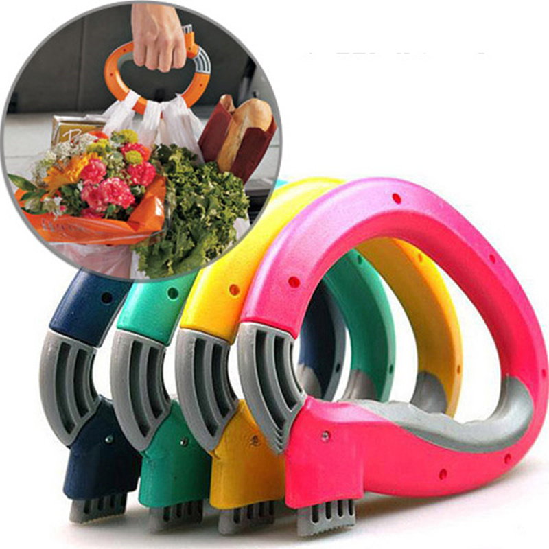 1pcs  Portable Shopping Bag Carrier Effort Hooks Grocery Bags Holder Handle  Foldable Bag Carrier Lock Kitchen Tool Gift
