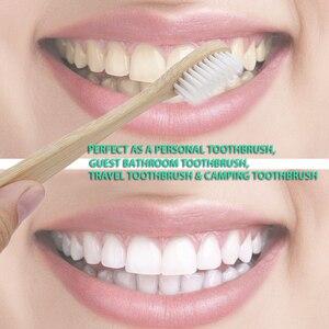 Image 5 - 4 kolory 50 sztuk/partia Natural Bamboo szczoteczka do zębów Oral Care Health Tool ekologicznie miękkie włosie białe szczoteczki do zębów