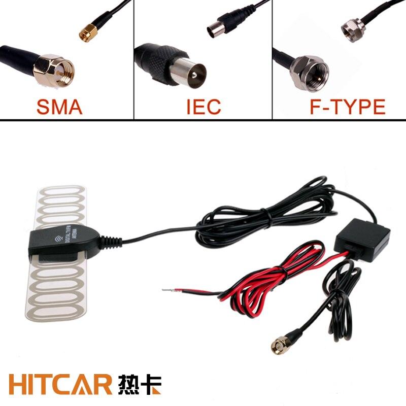 Voiture tableau de bord DVD F Type IEC SMA prise analogique numérique TV Tuner DVBT ATSC antenne antenne avec Radio FM et amplificateur de puissance cc