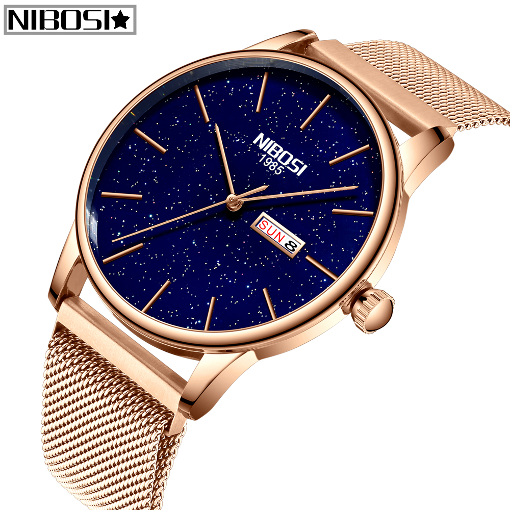 NIBOSI Quartz Men And Women Lovers Watch Relogio Feminino Top Brand Luxury Women Watch Gold Quartz Gift Clock Dress Wristwatch