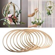 1 pçs 8-40cm quadro de madeira aro círculo bordado aro ferramenta círculo de bambu para ponto cruz mão diy arte artesanato ferramenta de costura