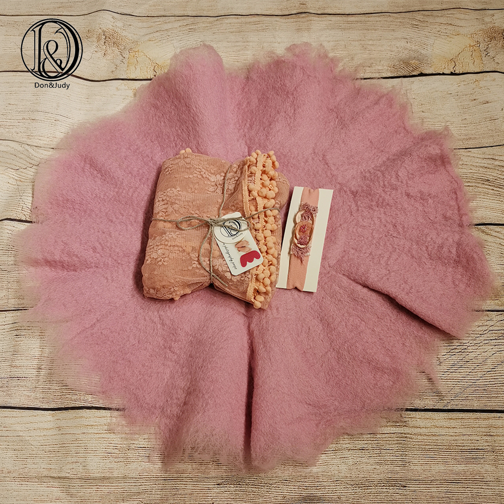 Don&Judy Handmade Blanket+Lace Wrap+Headband Set Soft Layer 100% Wool Felt Fleece Basket Filler Newborn Baby Photography Props